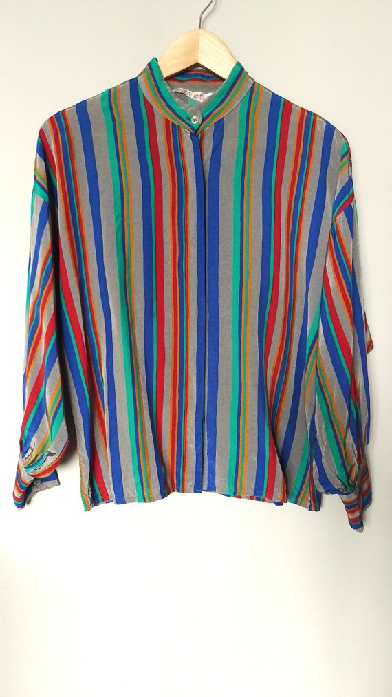17841aa2 Vintage 90's multicolor striped button-up shirt/ Vintage wide-sleeve  rainbow shirt/ Hipster striped