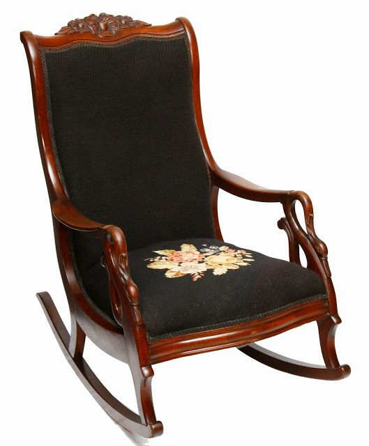 Swell Antique Gooseneck Carved Rocking Chair With Needlepoint Ibusinesslaw Wood Chair Design Ideas Ibusinesslaworg