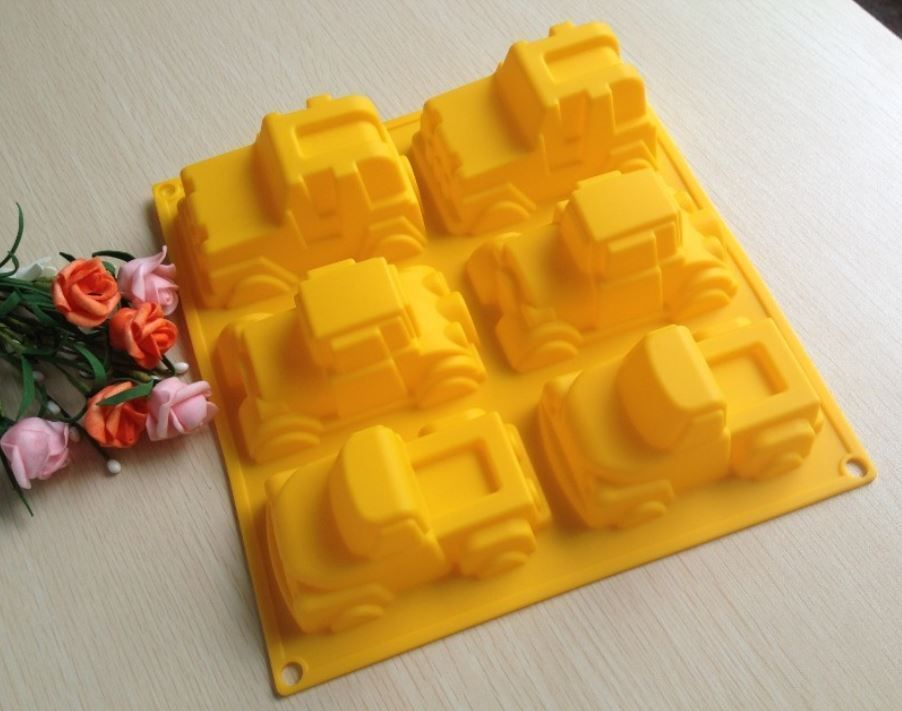6-fach XL Silikon Backform Tortenform Muffinform Form Mold Caketool Junge Autos
