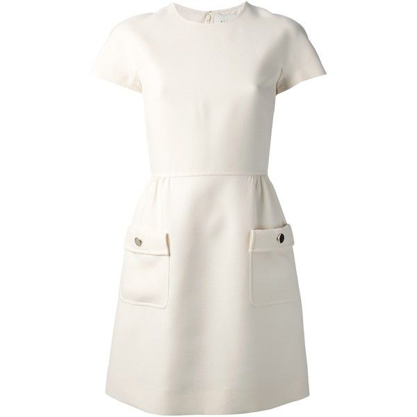 VALENTINO a-line dress (25.655 ARS) ❤ liked on Polyvore featuring dresses, day dresses, white, valentino, valentino dresses, a line silhouette dress, round neck short sleeve dress, white a line dress and short-sleeve dresses