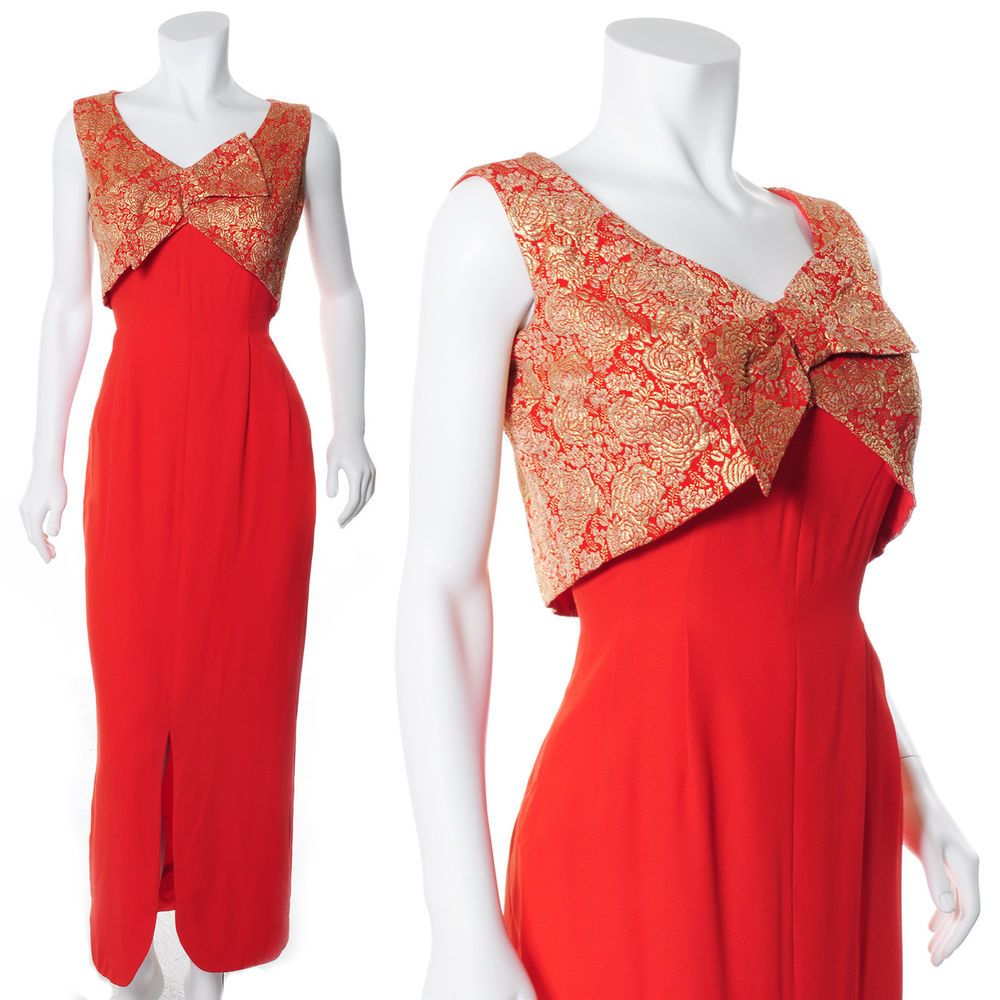 Stunning crepe gold brocade blood orange vintage s maxi hollywood