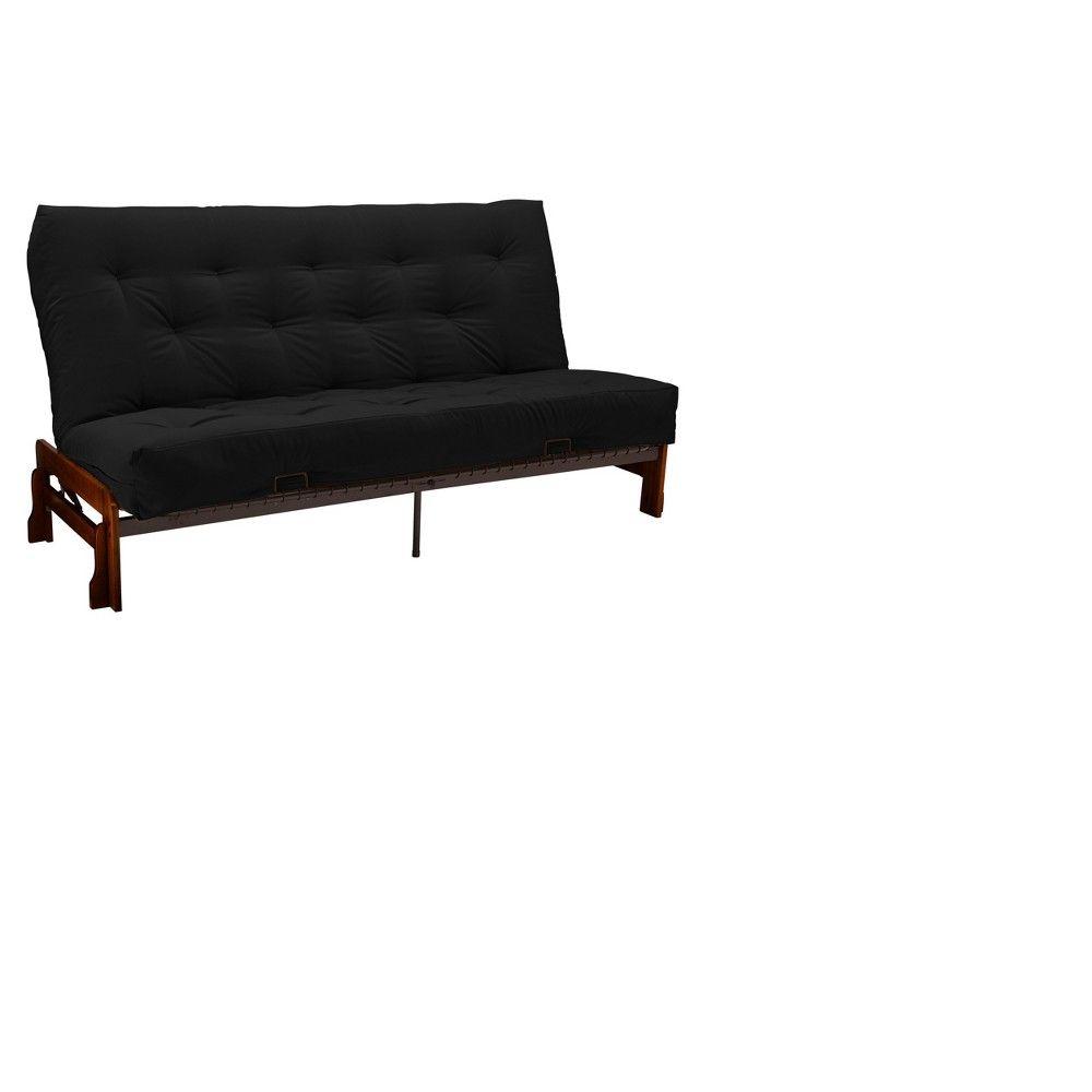 Low Arm 8 Inner Spring Futon Sofa Sleeper Walnut Wood Finish Twill Black Upholstery Queen Size Sit N Sleep Futon Sofa Futon Sleeper Sofa