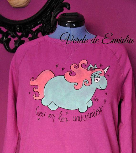 Sudadera Creo en los Unicornios por VerdedeEnvidia en Etsy