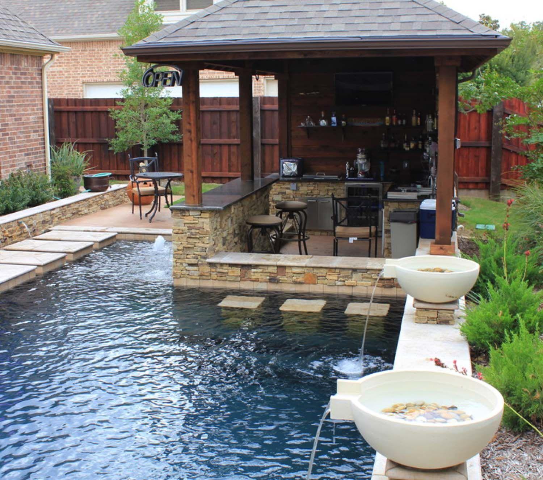 Small Backyard Ideas For Entertaining: 33 Mega-Impressive Swim-up Pool Bars Built For