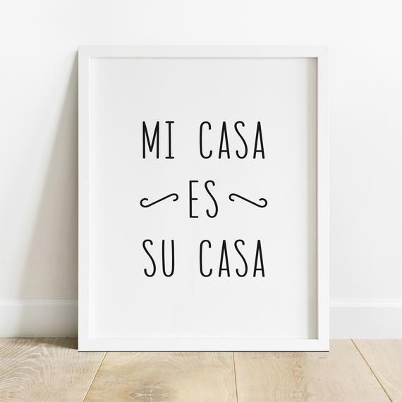 Mi Casa Es Su Casa Entryway Sign Guest Room Wall Art | Etsy