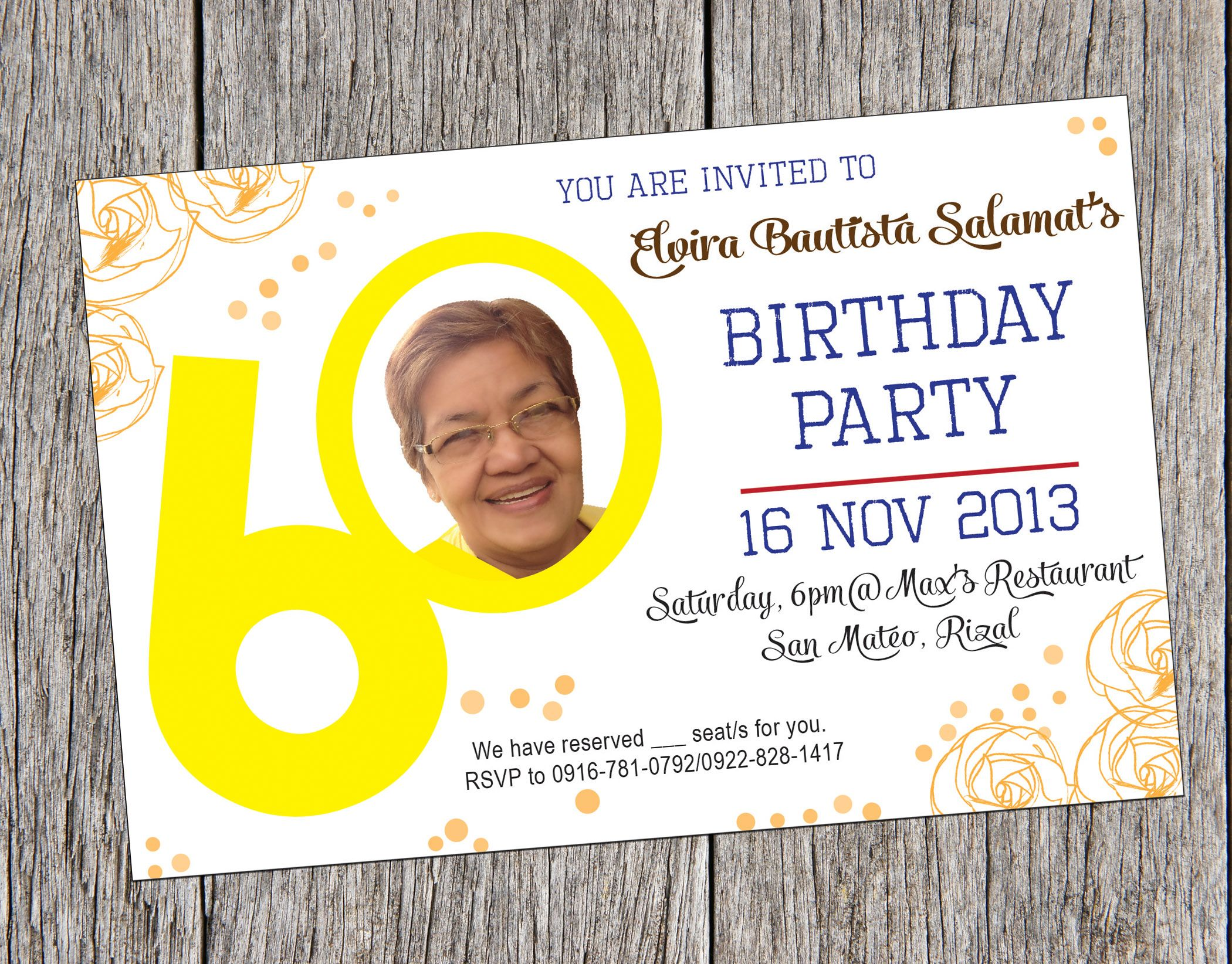Invitation card for 60th Birthday. I made this invitation card for ...
