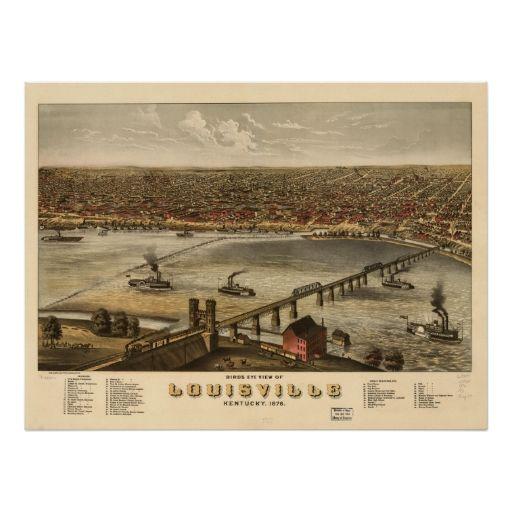 Louisville Kentucky 1876 Panoramic Map Posters