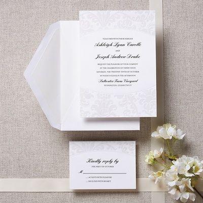 Pearlized Embossed Damask Wedding Invitation