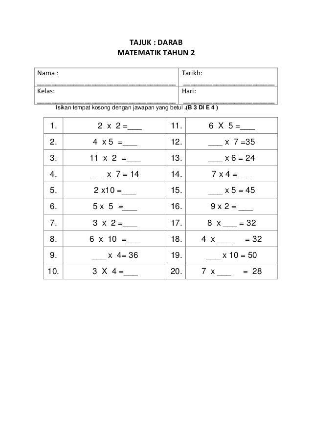 Tajuk Darab Matematik Tahun 2nama Tarikh Math Worksheets 1st Grade Worksheets Math