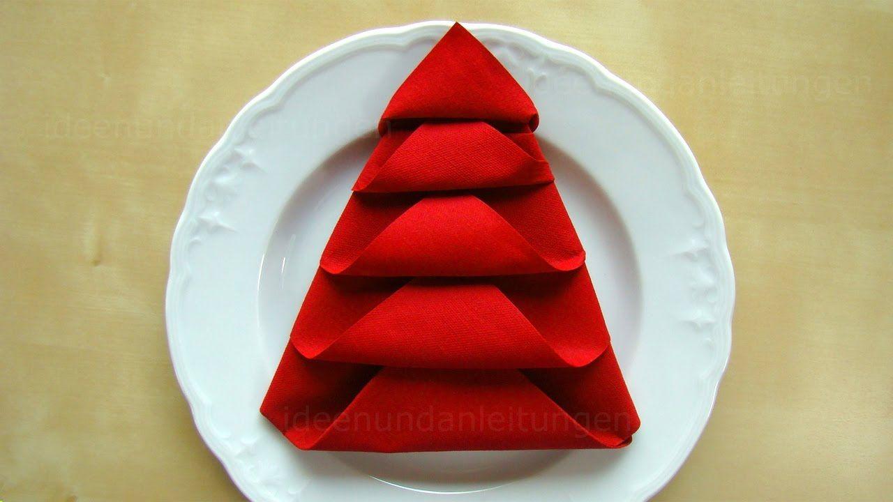 Servietten falten: Weihnachten - Tanne - Tischdeko Weihnachten - Origami mit Servietten - DIY - YouTube #diynapkinfolding