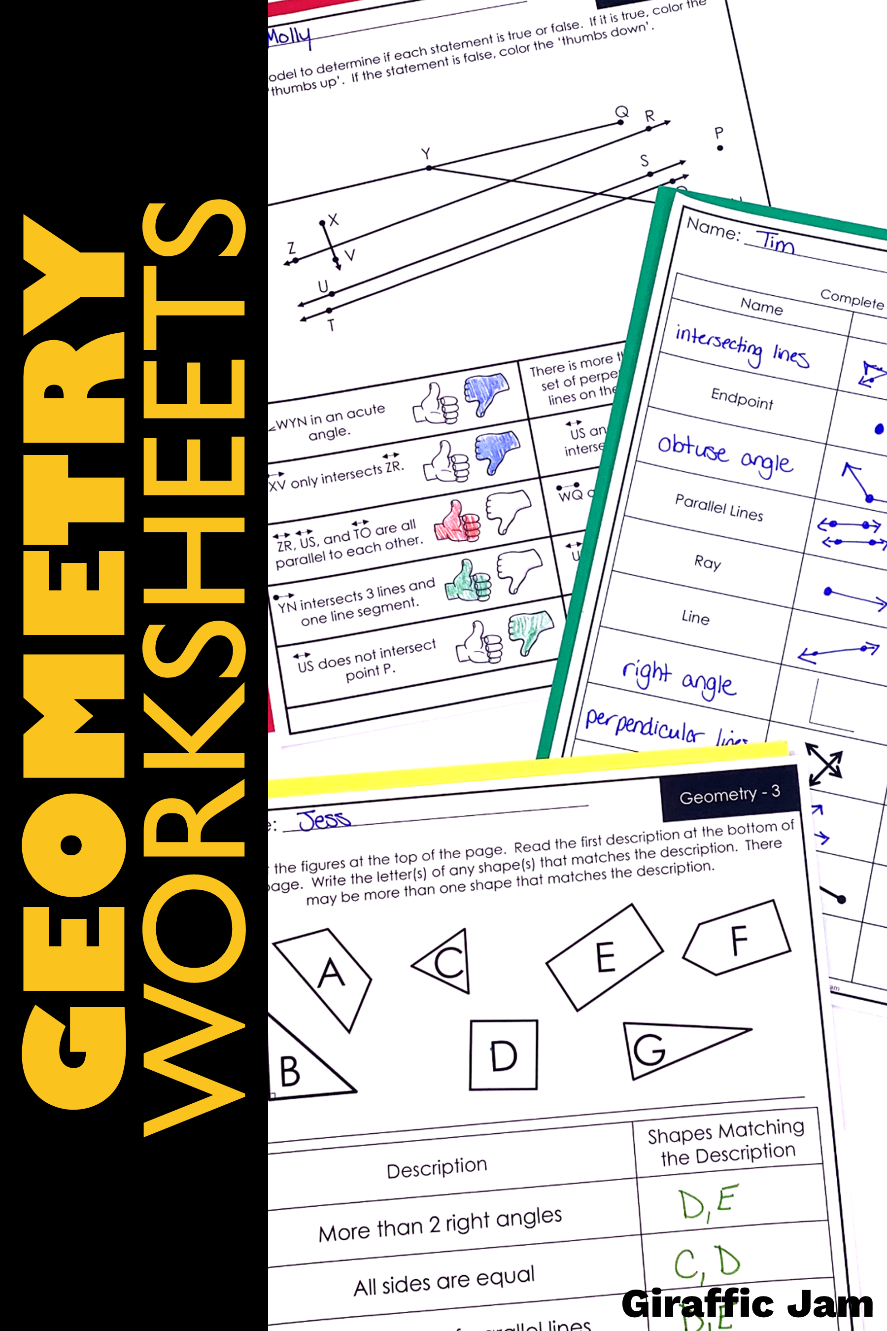 4th Grade Geometry Vocabulary Worksheets   Printable Worksheets and  Activities for Teachers [ 2700 x 1800 Pixel ]