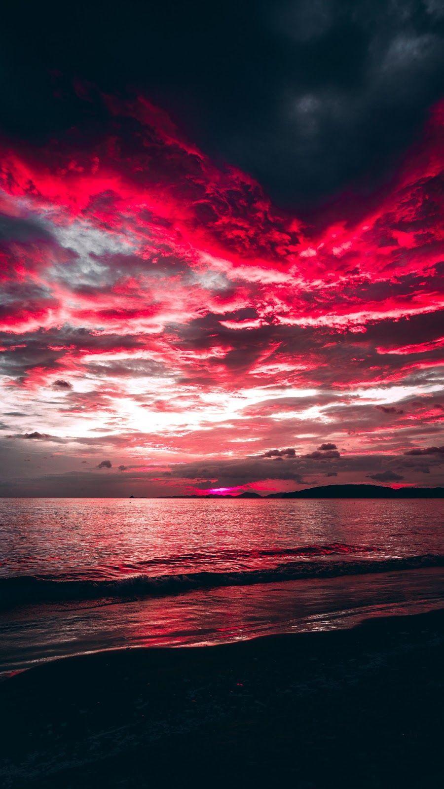Red Clouds Fotografie De Peisaj Valurile Oceanului Fundaluri