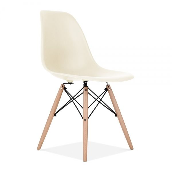 Dsw Molded White Plastic Dining Shell Chair With Dark Walnut Wood