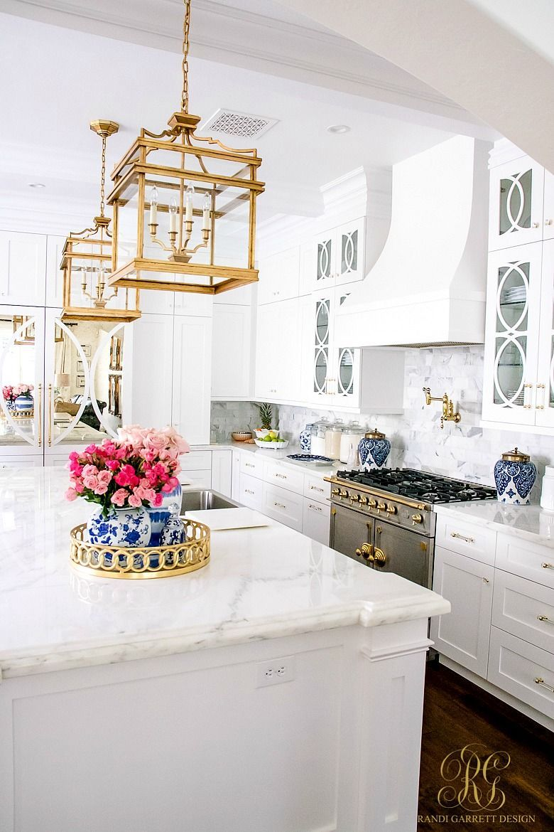 This is what kitchen dreams are made of! White transitional kitchen Kitchen Ideas White Blue Gold on silver kitchen ideas, stainless steel kitchen ideas, antique style kitchen ideas, two toned kitchen ideas,