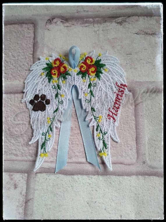 Personalised pet memorial, angel wings, dog/cat remembrance, loss gift, in loving memory, bereavemen