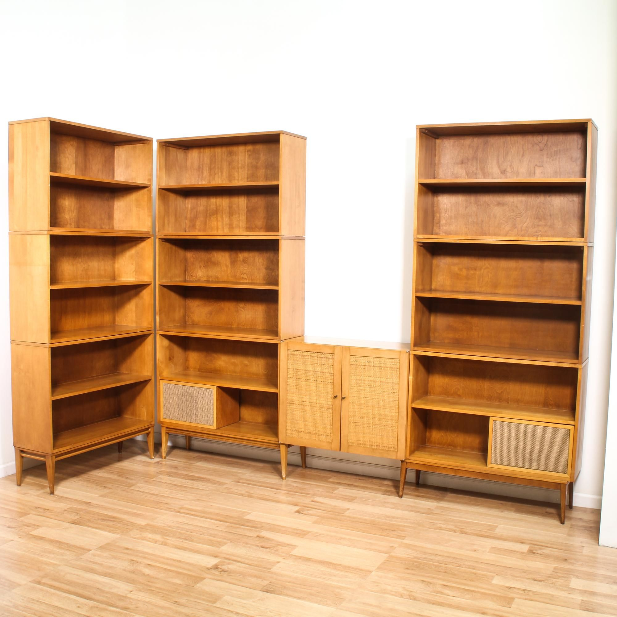 This Mid Century Modern Style Wall Unit Has 3 Bookcases,