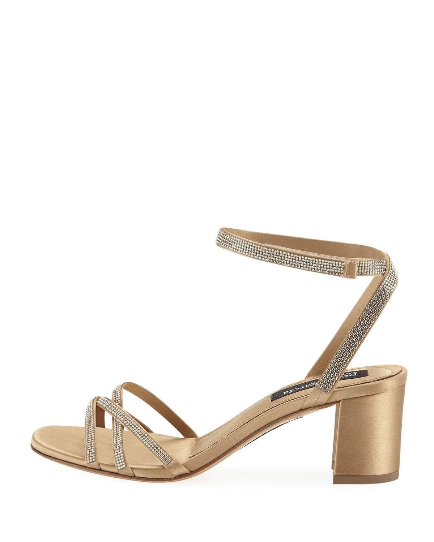 f0c8e3270fa Pedro Garcia Xafira Embellished Satin Block-Heel Sandal