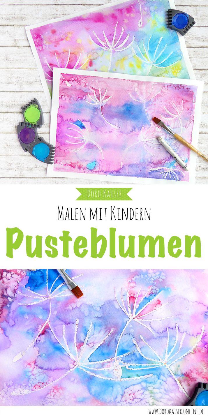 Malen Mit Kindern Wunderbare Pusteblumen Mit Wasserfarben Malen
