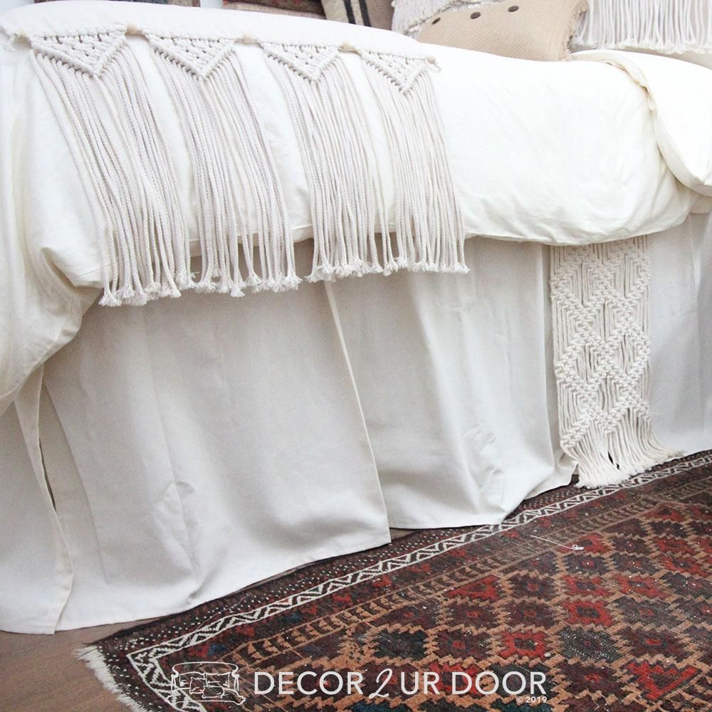 Photo of Ivory and Natural Macrame Extra Long Dorm Bed Skirt