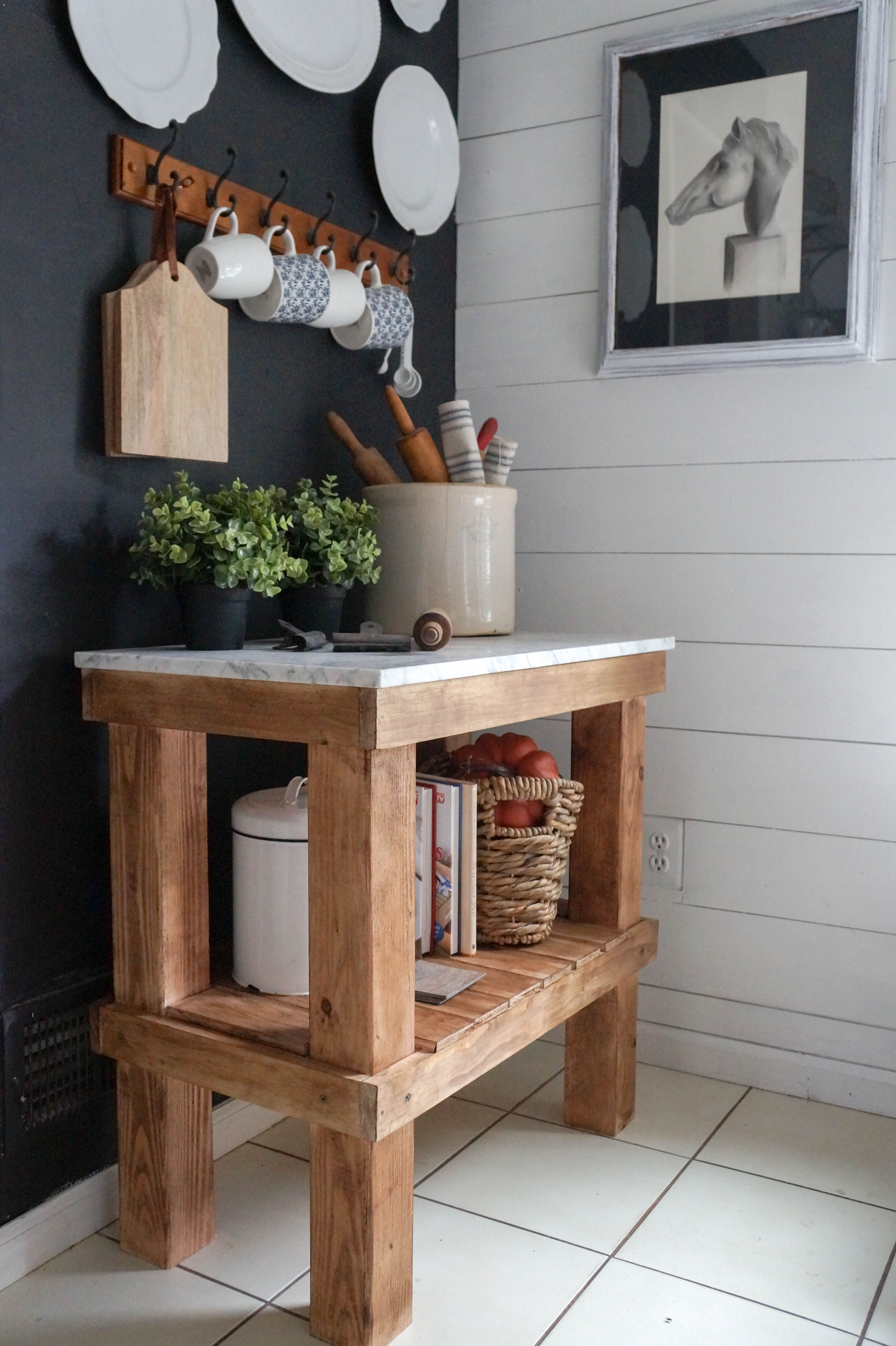 Kitchen Cart: DIY Rustic Cart With Marble Top