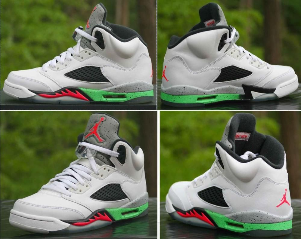 324ff3c4d3c8b3 Nike Air Jordan V 5 Retro BG Pro Star Size 6.5Y Poison Green White 440888- 115  Nike  BasketballShoes