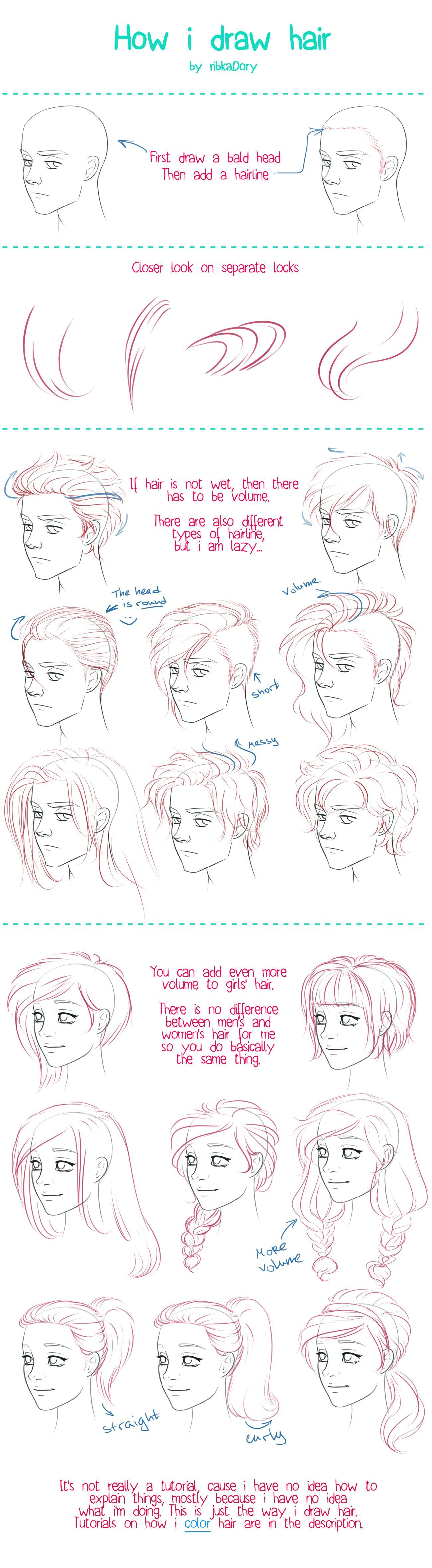 Anatomy Drawing How To Draw Hair Tutorial By Ribkadory On