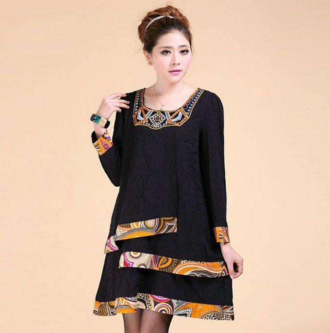 6481034d3fc2c 2014 Large Size Women Retro Ethnic Style Dress Plus Size Fat Women ...