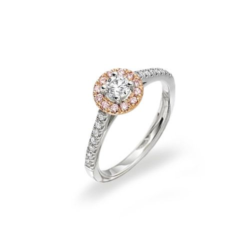 Gorgeous Natural Pink Diamond Engagement Ring HALO COLLECTION