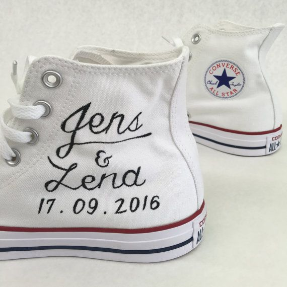 Hand Painted Just Married Converse Black Canvas Chucks