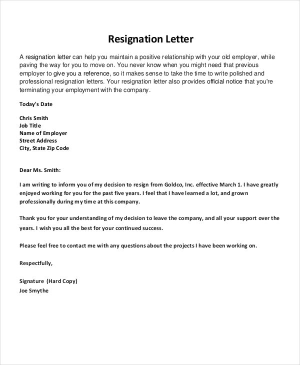 Resignation Letter Free Word Pdf Documents Download Application