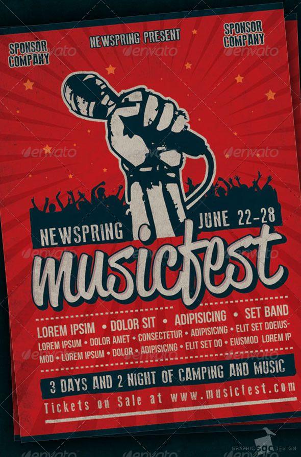 Music Fest Flyer Music fest, Concert flyer and Flyer design - music flyer