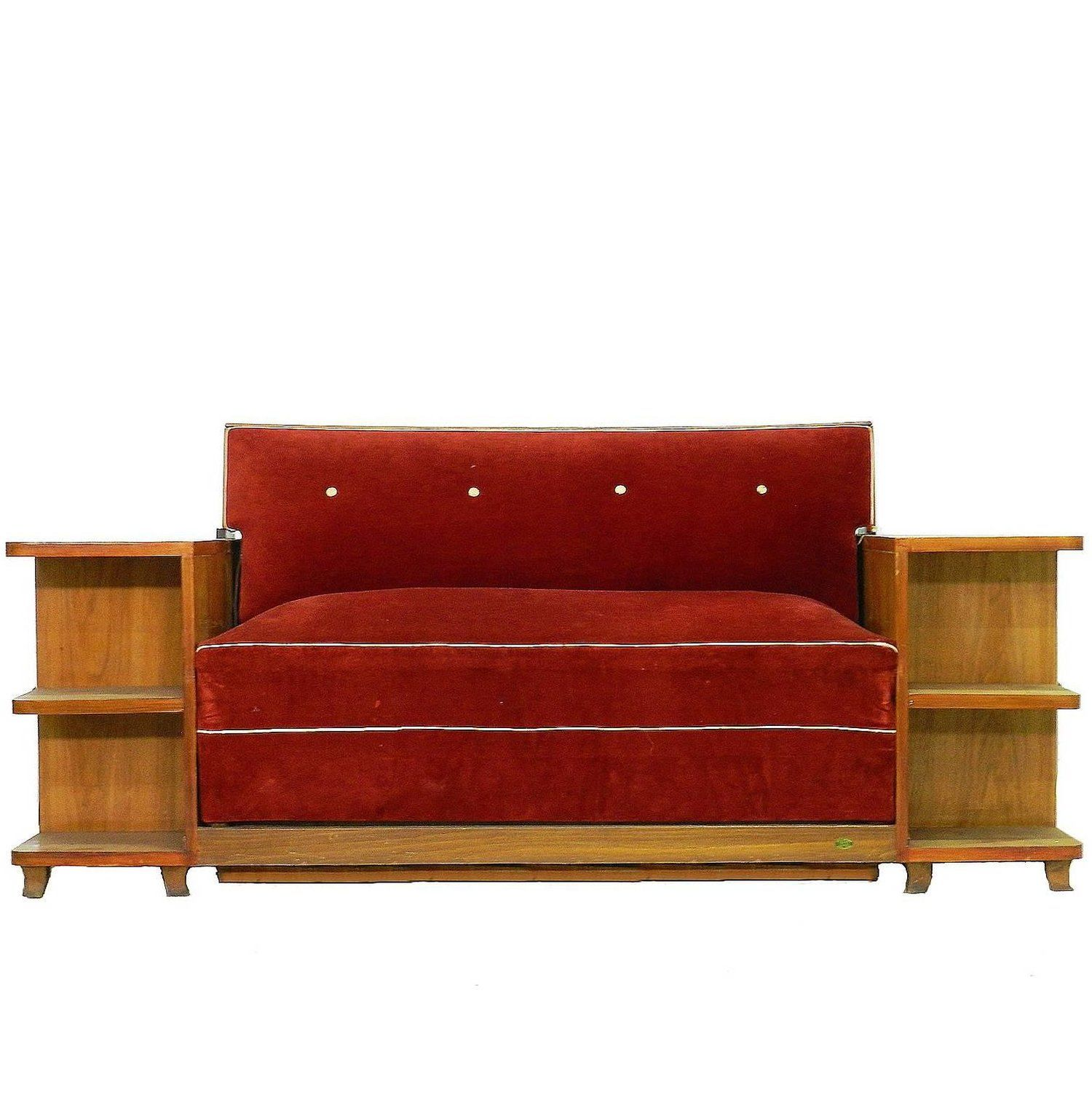 Art Deco Sofa French Canape Bed With Integrated Cabinets And Shelves
