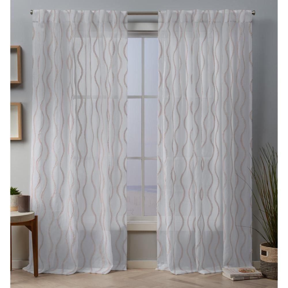 Exclusive Home Curtains Belfast 54 In W X 96 In L Sheer Hidden Tab Top Curtain Panel In Blush 2 Panels Eh8340 03 2 96h The Home Depot Home Curtains Panel Curtains Exclusive Home