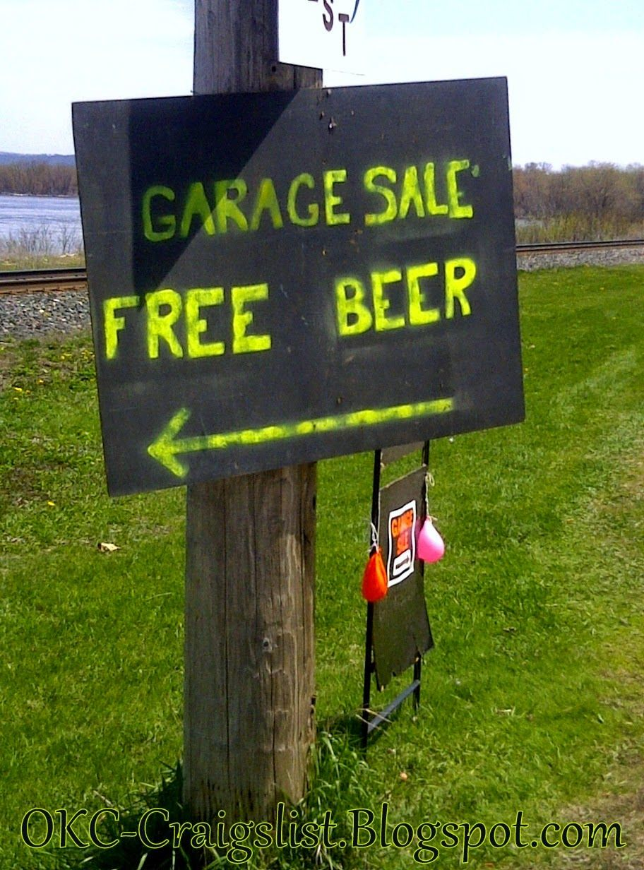 Garage Sale Sign Of The Week Free Beer With Images Yard Sale