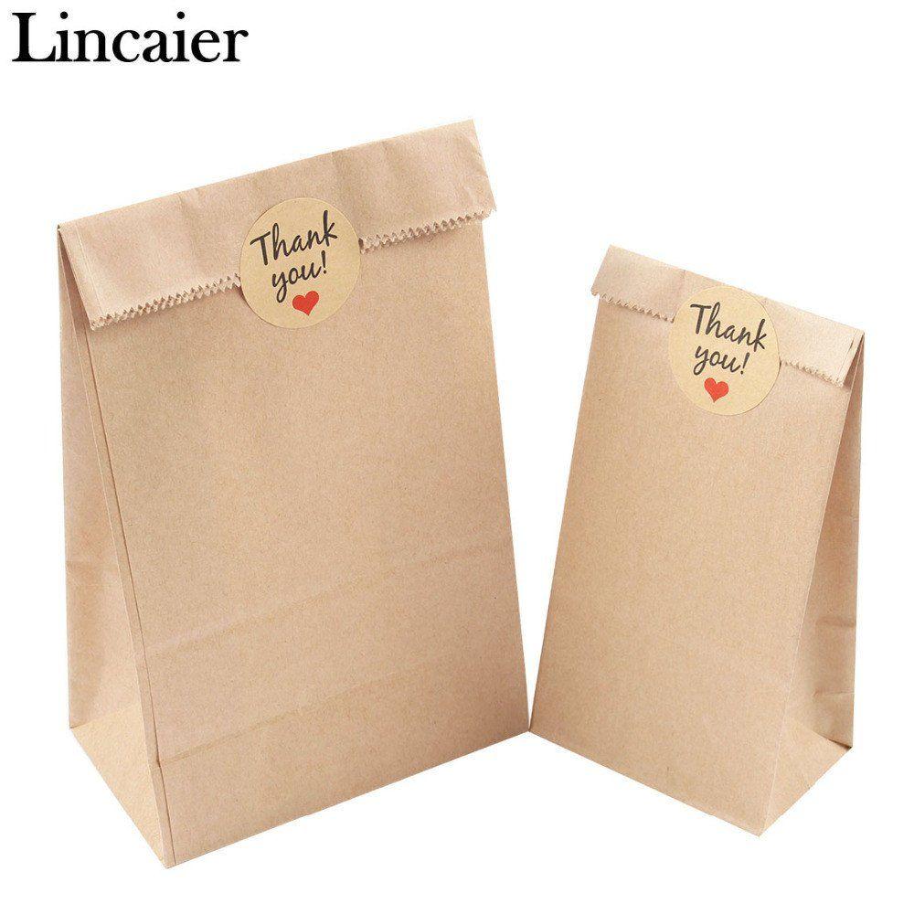 Bag Cute Brown Gift Blank Love Baking Label Kraft Paper Sticker Heart Shape