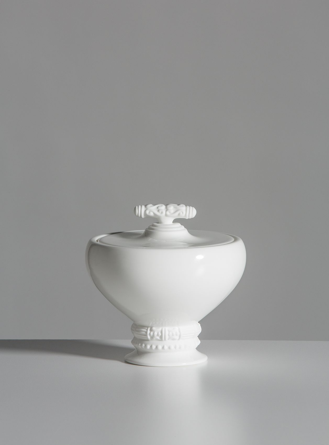Small Covered Bowl, White - $220