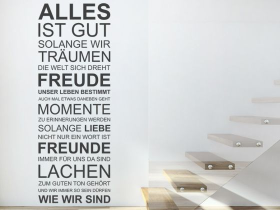 alles ist gut solange wir tr umen wandtattoo spruchbanner unique design pinterest ein. Black Bedroom Furniture Sets. Home Design Ideas