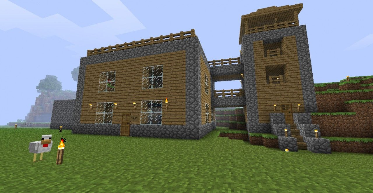 Front View Of The House Minecraft House Designs Minecraft Modern House Blueprints Minecraft Houses Blueprints