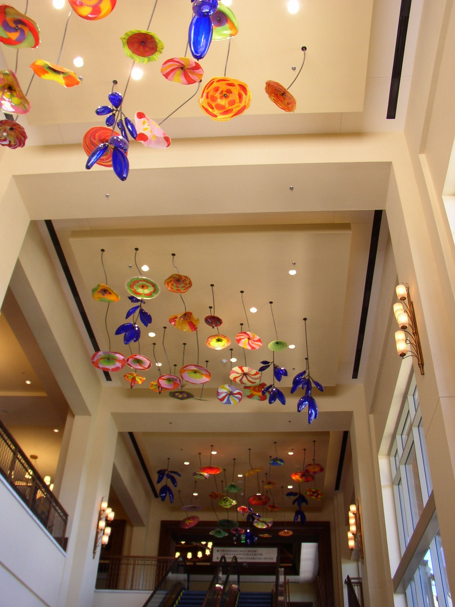Dale Chihuly ceiling glass art in hotel conference center
