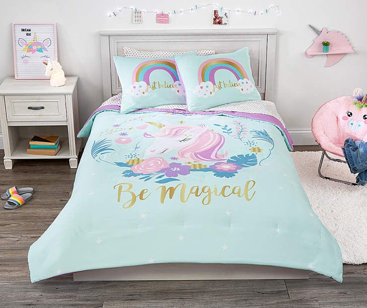 I Found A Unicorn Twin Full 3 Piece Comforter Set At Big Lots For Less Find More At Biglots Com Comforter Sets Kids Bedding Sets Unicorn Bedding