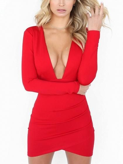 df48f75268 Red Deep V-neck Backless Long Sleeve Bodycon Mini Dress in 2019 ...