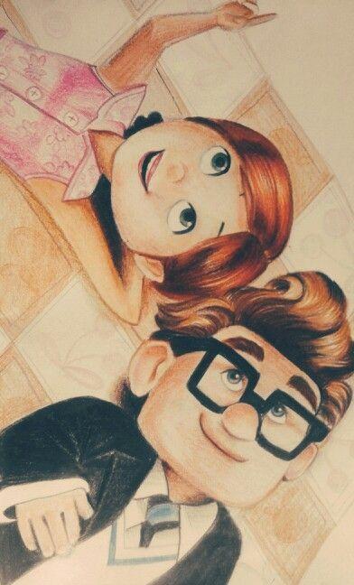 Pixar Drawing Carl and Ellie