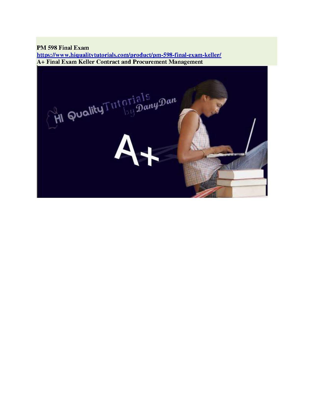 PM 598 Final Exam | Final exams, Exam answer, Exam study