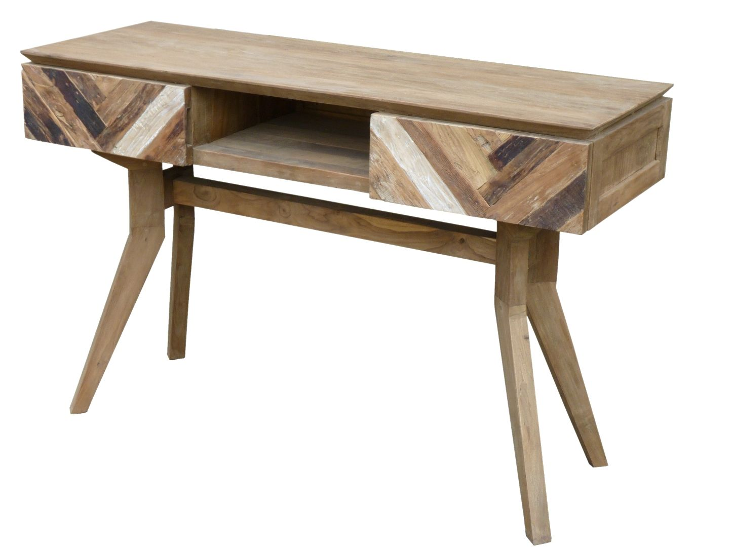 100 Recycled Teak Console Serving Table Infused With Distinct Art Deco Style Only At Ch Teak Wood Furniture Art Deco Console Table Rustic Wood Furniture