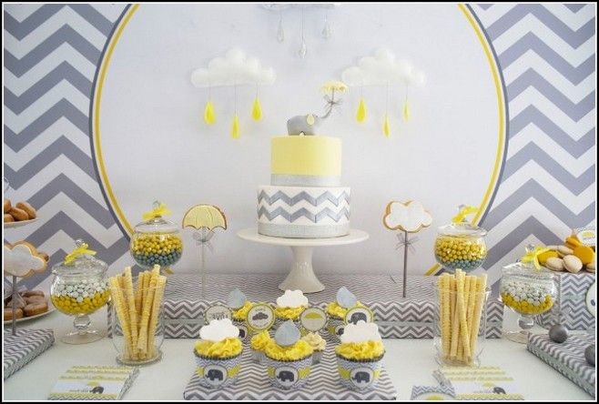 Yellow And Gray Elephant Baby Shower Decorations Cha De Bebe