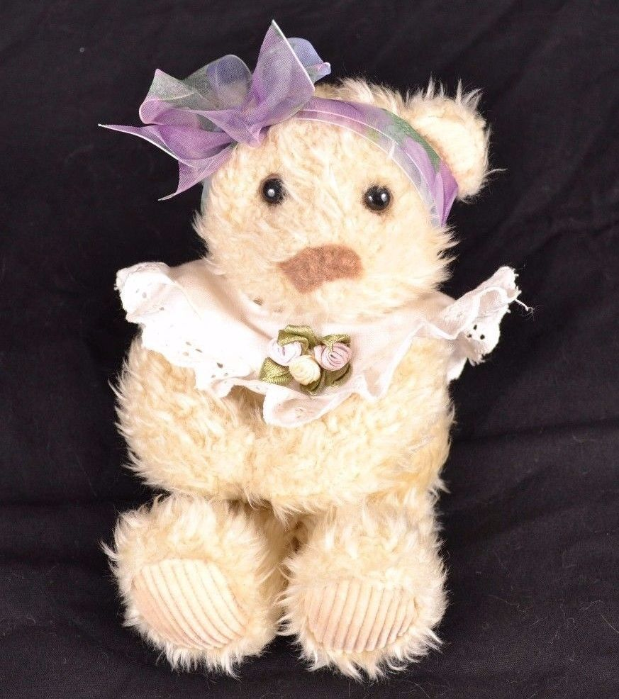 Mini Chantilly Stuffed Animal Bear Girl Collar Hair Bow Head Band Plush Bear Stuffed Animal Bear Girl Hair Bows