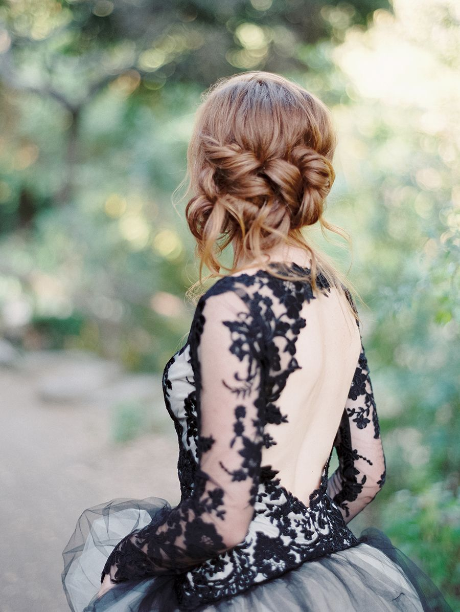 Edgy black lace wedding inspiration apparel black colored formal