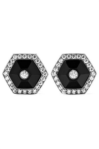 Collection Or 18 Carats Blanc, Saphir Et Boucles D'oreilles Diamant - Taille Fred Leighton