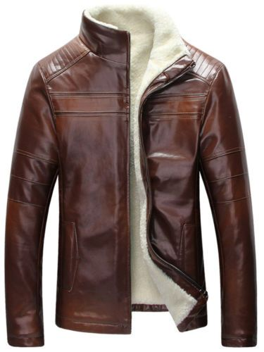 New Mens Lamb Wool Lined Winter Warm Sheep Skin Genuine Leather Coat Jacket