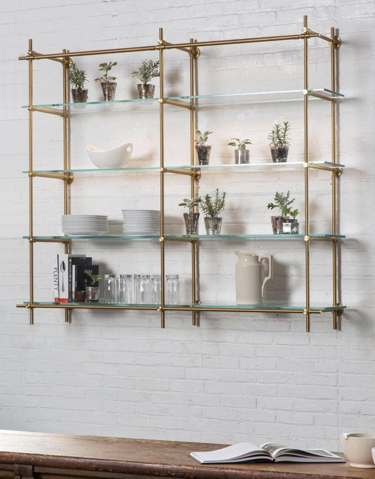 amuneal s collector s hanging 2 bay unit in 2019 someday glass rh pinterest com hanging metal shelves for kitchen hanging shelves metal studs